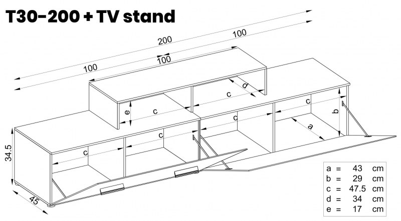 T30-200 + TV Stand - White gloss fronts